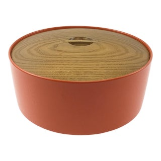 1960s Sam Mann Insulated Bowl in Orange With Oak Lid For Sale