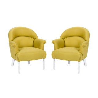 Casa Cosima Napoleon III Chair in Citron Linen, a Pair For Sale