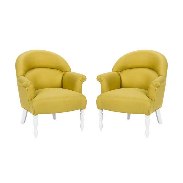 Casa Cosima Napoleon III Chair in Citron Linen, a Pair For Sale