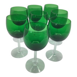 Vintage Fostoria Hand Blown Classic Green Water Goblets Stem - Set of 8 For Sale