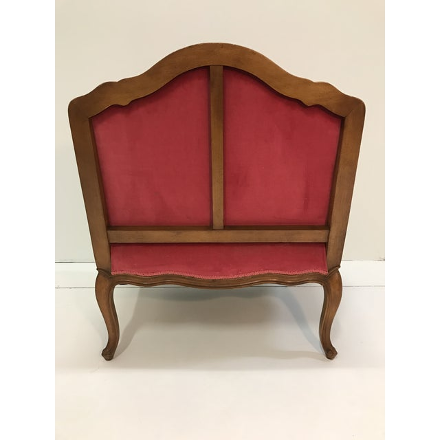 Pink Louis XV Revival Pink Velvet Vintage Country French Wide Bergere Marquise Chair Mahogany Cabriole Legs For Sale - Image 8 of 13