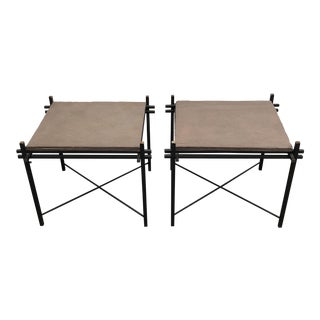Iron & Slate Artisan Crafted Side Tables - A Pair