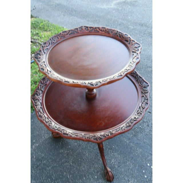 1940s Mahogany Two Tier Hand Carved Pie Crust Round Side Table For Sale - Image 5 of 11