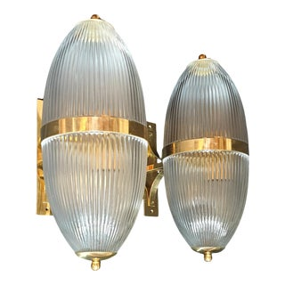 Large Mid-Century Modern Clear Glass & Brass Italian Sconces or Lanterns - a Pair For Sale