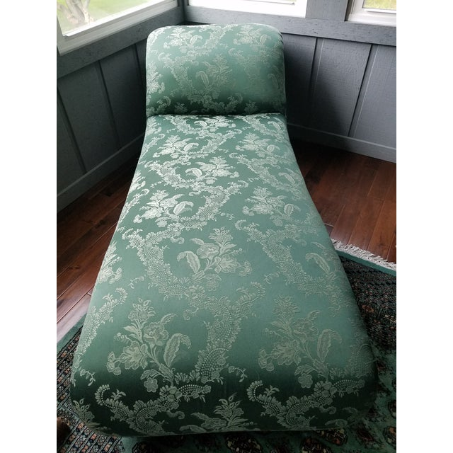 Antique 1880s Green Floral Re Upholstered Chaise Lounge For Sale - Image 9 of 9