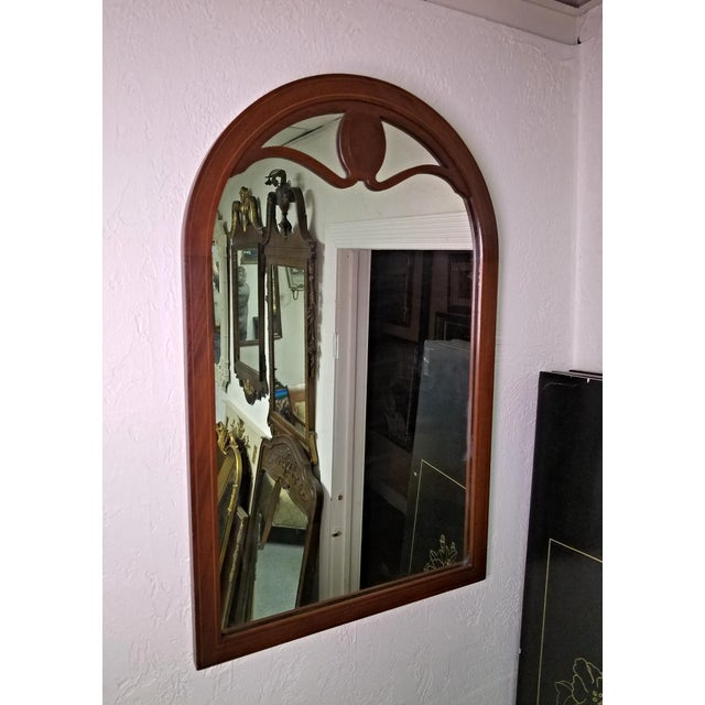 Brown Line Inlaid Arched Neoclassical Mahogany Wall Mirror For Sale - Image 8 of 8