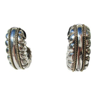 Large Sterling Silver Clip Earring For Sale