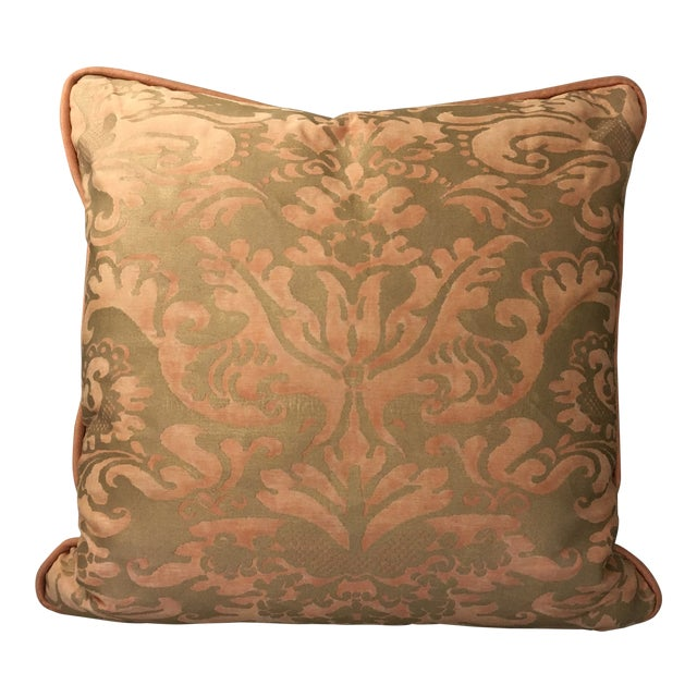 Fortuny Sevigne Pillow in Melon and Silvery Gold For Sale