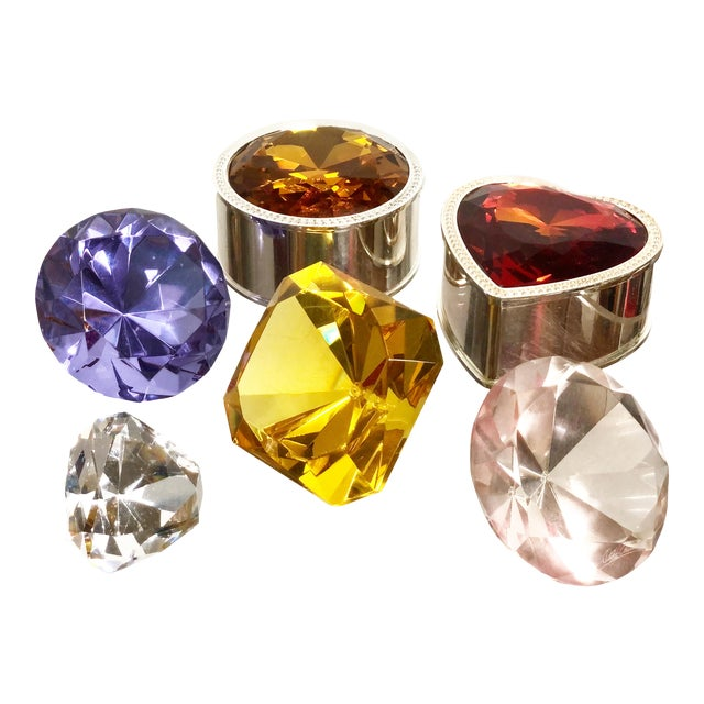Collection of Crystal Gemstone Paperweights & Boxes - Set of 6 For Sale