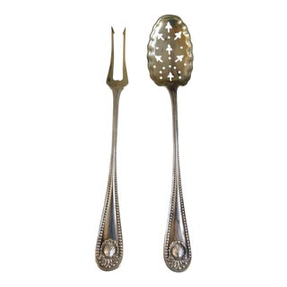 Sterling Antique Whiting Openwork Spoon and Two Prong Fork - a Pair
