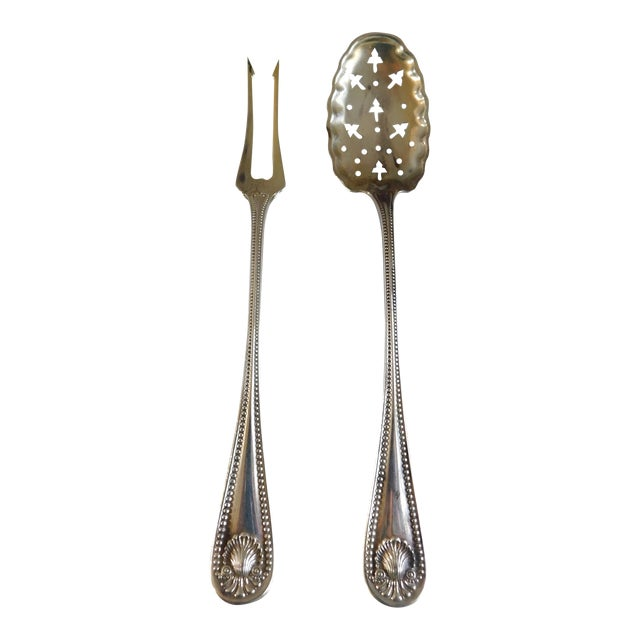 Sterling Antique Whiting Openwork Spoon and Two Prong Fork - a Pair For Sale