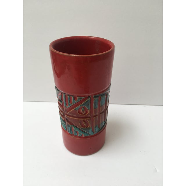 Italian Modern Cylindrical Red Vase - Image 2 of 3