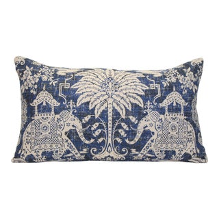 English Navy Blue Elephant Pillow For Sale
