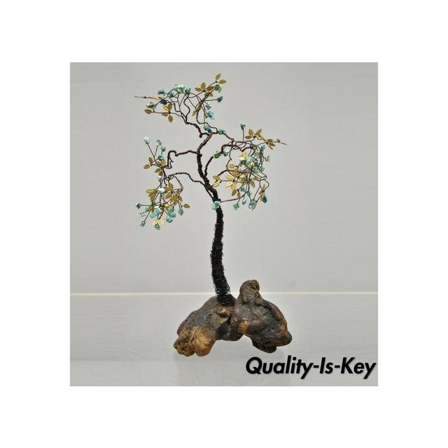 Copper Wire Bonsai Tree Brass Leaves Stone Fruit Sculpture Chairish