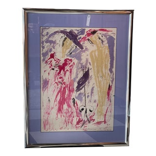 """1996 """"Two Women"""" Abstract Figurative Painting, Framed For Sale"""