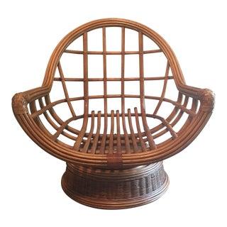 Mid-Century Modern Rattan Swivel Chair