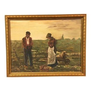 Vintage Oil on Board Angelus Reproduction Painting