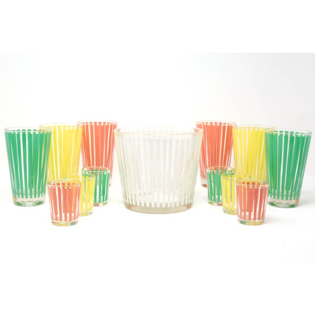 1960s Vintage MCM Pastel Stripes Cocktail and Shot Glasses Barware With Ice Bucket and Brass Caddy - Set of 14 For Sale - Image 5 of 13