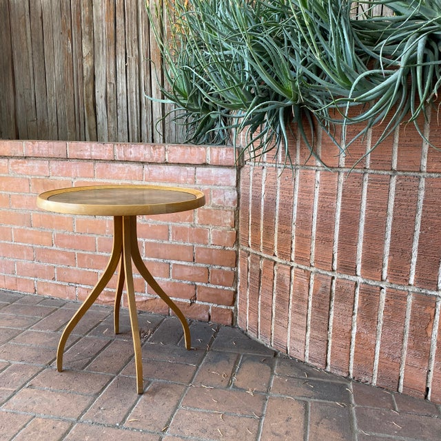Drexel 1960s Kipp Stewart for Drexel Round Leathertop End Table For Sale - Image 4 of 12