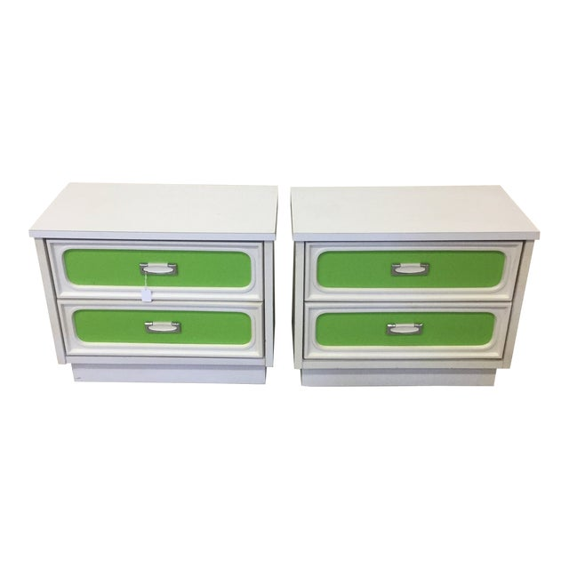 Mid Century Lime Green & White Lacquer Night Stands For Sale