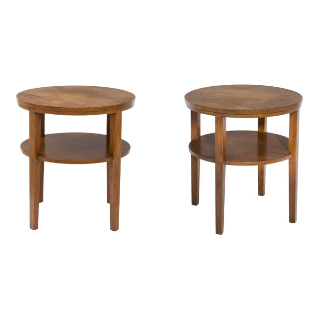 Round Combed Oak End Tables by Grand Rapids Bookcase & Chair For Sale