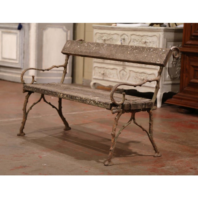 This wonderful antique bench was found in a Normandy manor, crafted circa 1860 and made of iron shaped as tree branches,...