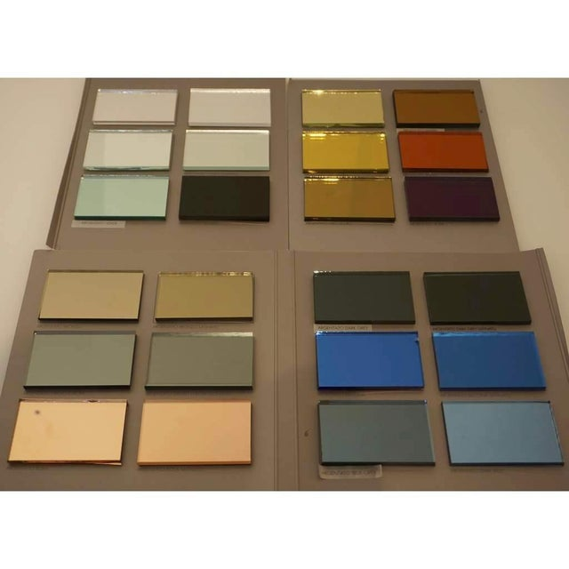 2010s Contemporary Italian Geometric Murano Glass Mirror With Aqua Green Ribbon For Sale - Image 5 of 13