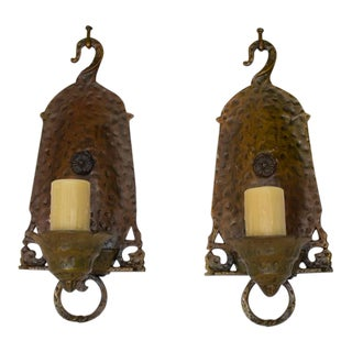 Arts And Crafts Style Hammered Metal Sconces - a Pair For Sale
