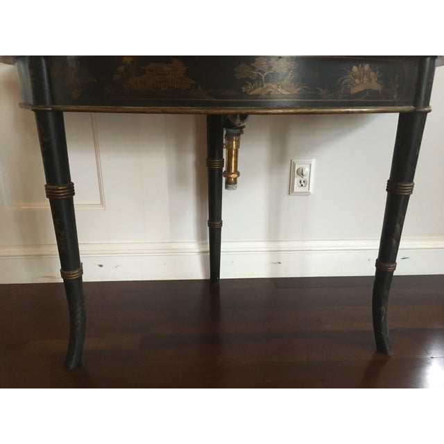1940s Chinoiserie Black Bathroom Vanity With Brass Sink Faucet For Sale - Image 4 of 12