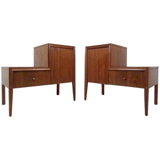 """""""L"""" Shaped Vintage Modern Nightstands - a Pair For Sale"""