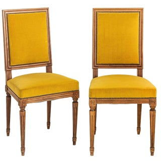 Early 20th Century Yellow Velvet Louis XIV Side Chairs - a Pair For Sale