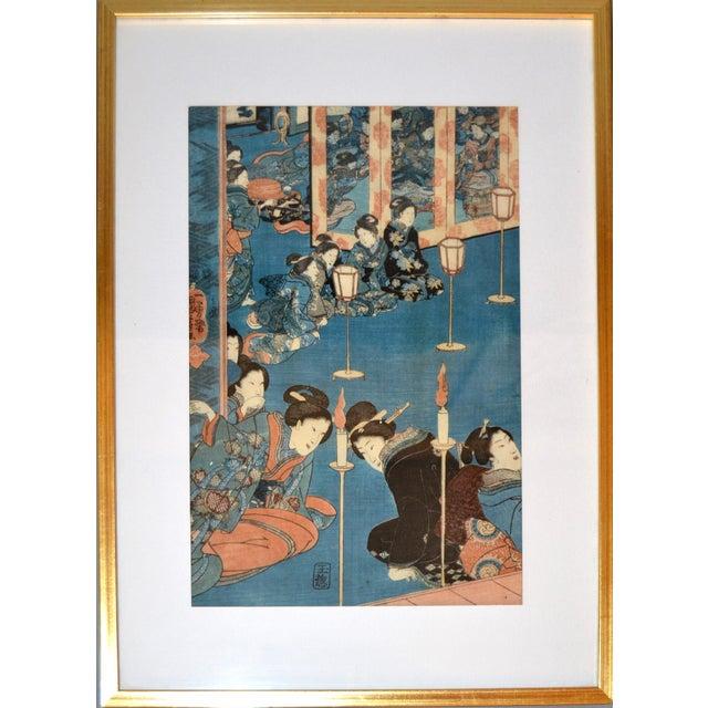 Utagawa Kuniyoshi Japanese Original Gilt Framed Woodcut Print on Paper C. 1845 For Sale - Image 10 of 11