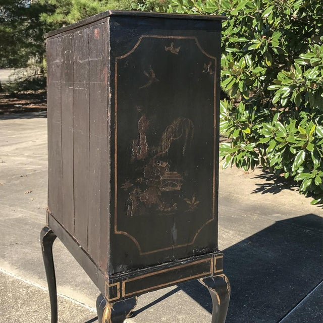 Late 19th Century 19th Century Ebonized & Hand-Painted Chinoiserie Raised Cabinet For Sale - Image 5 of 12
