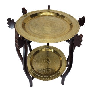 Vintage Asian 2 Tier Brass Tea Table with Engraved Elephants, Deer, and Birds For Sale
