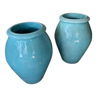 1920's Vintage California Pottery Oil Jars-a Pair For Sale