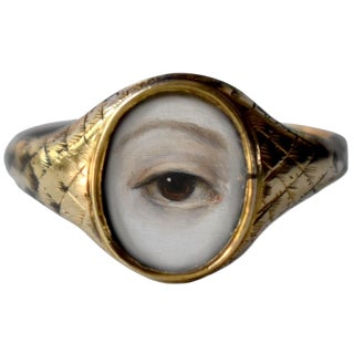 19th Century Lover's Eye Victorian Signet Ring For Sale