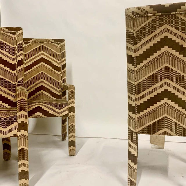 Set of Six 1970s Glam Zig Zag Parsons or Tuxedo Velvet Upholstered Dining Chairs For Sale In New York - Image 6 of 11