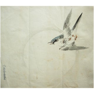 Late 19th Century Meiji Era Flying Blue-Headed Tit Japanese Large Watercolor Painting For Sale