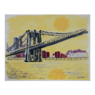 Brooklyn Bridge New York Abstract Painting by Cleo
