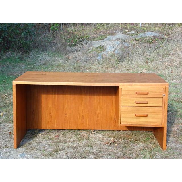 Vintage Mid Century Danish Modern Teak Executive Office Desk Denmark - Image 7 of 11