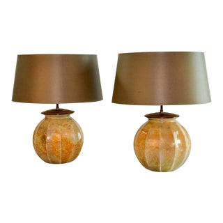 Stunning Pair of Mid-Century Modern French Handmade Crystal Glass with Golddust Table Lamps by Laque Line , 1970s For Sale