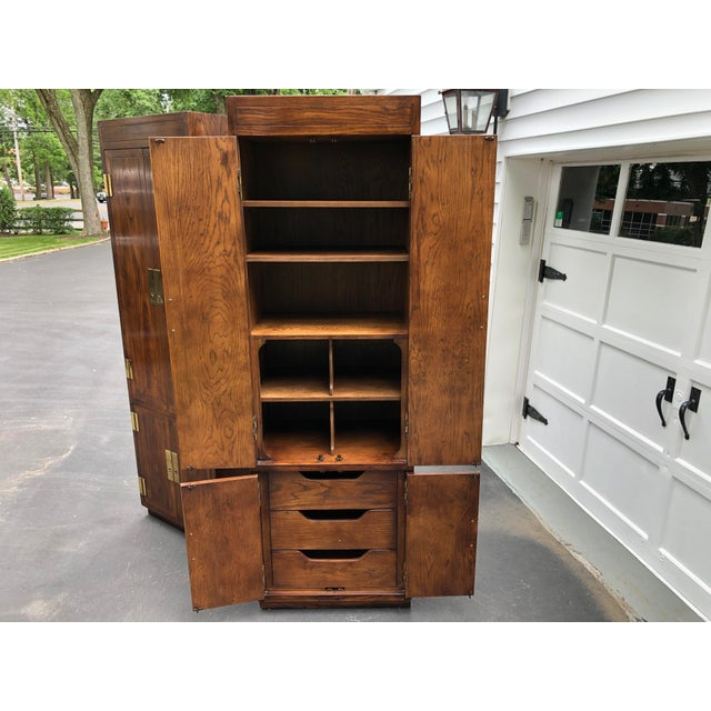 Henredon Scene One Campaign Style Armoire Cabinets 1980s - a Pair For Sale - Image 10 of 12