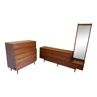 Vintage Mid-Century His/Her Walnut Dresser Set - 2 Pieces For Sale
