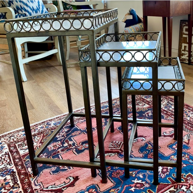 Mid-Century Modern Hollywood Regency Iron-Frame Nesting Tables With Marble Top - Set of 3 For Sale - Image 3 of 6