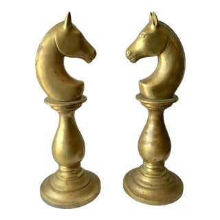 """Pair of """"Horse"""" Head Newel Post Tops For Sale"""