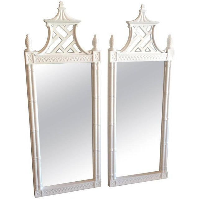 Vintage Chinese Chippendale Pagoda Faux Bamboo Wall Mirrors - A Pair - Image 11 of 11