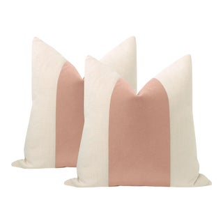 "22"" Blush Mohair Velvet Panel & Linen Pillows - a Pair For Sale"