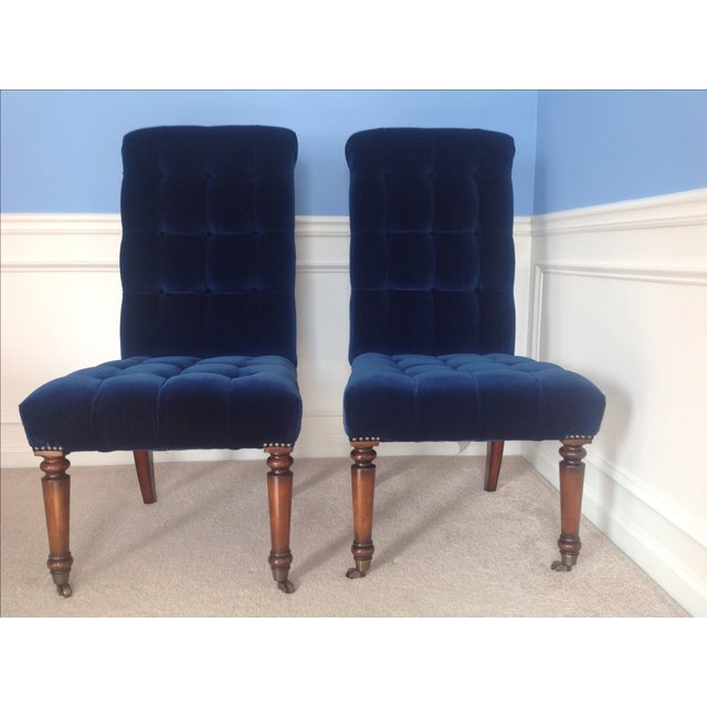 Barclay Butera Velvet Tufted Dining Chairs - Pair - Image 2 of 8