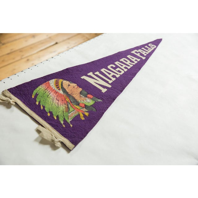 :: Vintage circa 1930s Niagara Falls felt flag souvenir banner pennant with imagery of a Native American woman in...