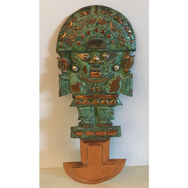 Primitive Vintage Copper Aztec God Wall Hanging For Sale - Image 3 of 9